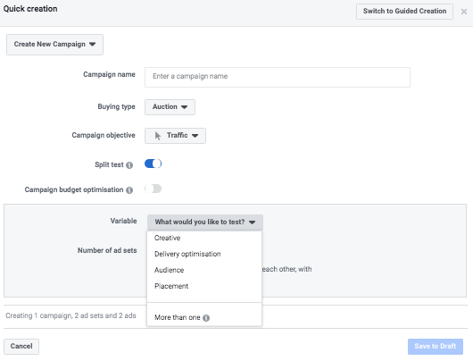 Facebook.com – how to create a comparison test
